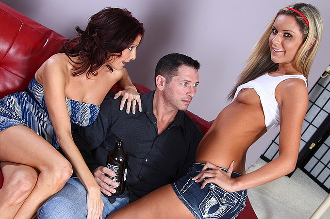 John Strong Lets Two Gorgeous Sluts Share His Rod