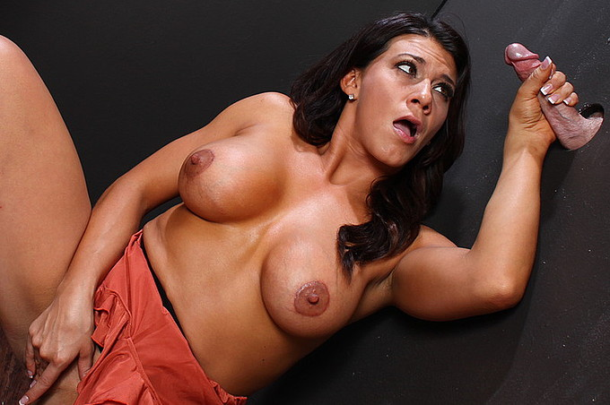 Leena Takes A Cock Through A Glory Hole Deep.