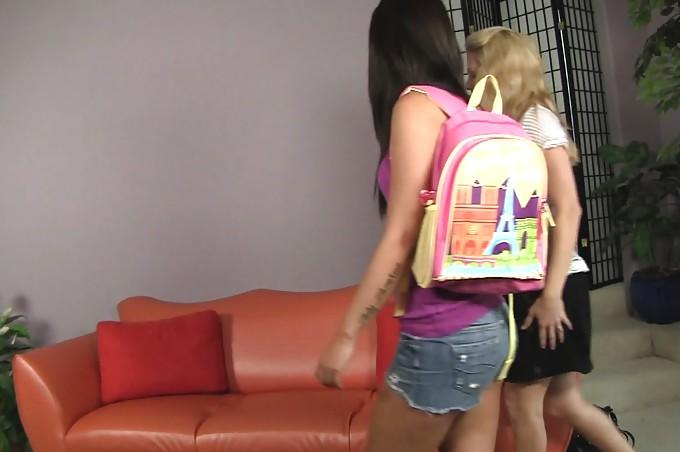 Cute Brunette Teen Leah Parker Gets Seduced By Angela Attison